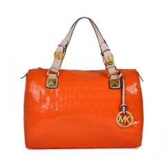 "Michael Kors Grayson Medium Monogram Orange Crossbody Bags  -Red leather.-Golden hardware.-Tubular top handles; hanging logo key charm.-Shoulder strap with chain details.-Strap with padlock detail cinches top.-Gusset sides.-14""H x 13""W x 6 1/4""D.-Imported...."