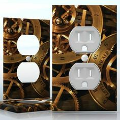 DIY Do It Yourself Home Decor - Easy to apply wall plate wraps | The Mechanic  Clockwork  wallplate skin sticker for 1 Gang Wall Socket Duplex Receptacle | On SALE now only $3.95 Do It Yourself Home, Light Switch Covers, Plates On Wall, Decals, Wraps, Stickers, Easy, Home Decor, Tags