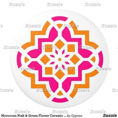 Moroccan Pink & Green Flower Ceramic Knob