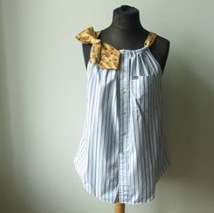 XL/XXL Blue and Yellow Striped Tank Top by GarageCoutureClothes