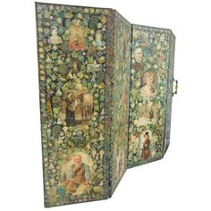 Antique Welsh Victorian Panel Decoupage Screen (455 KWD) ❤ liked on Polyvore featuring home, home decor, panel screens, screens, outdoor room dividers, flower home decor, outdoor home decor, seashell home decor and flower stem