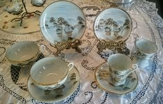Japanese Scene Tea Cup/Saucer Set of 4~Made in Japan~circa Early 1900's by AntiquatedElegance on Etsy