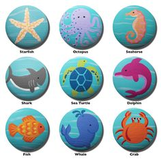 Hand Painted Knob - Children's Custom Hand Painted Marine Sea Life Critters Ocean Animal Drawer Knobs Pulls or Nail Covers for Kids on Etsy, $5.00