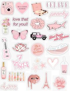 Pink Stickers 2 - Laptop - Ideas of Laptop - pink sticker pack pink stickers light pink peachy pink peach baby pink pastel pink light retro vintage sticker pack overlays edits hydroflask stickers laptop stickers phone case stickers trendy cute ae Stickers Cool, Tumblr Stickers, Phone Stickers, Wallpaper Stickers, Kawaii Stickers, Laptop With Stickers, Preppy Stickers, Macbook Stickers, Planner Stickers
