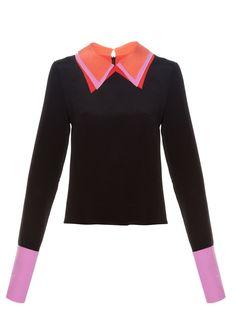 Lyndum contrast-collar blouse by Roksanda | Shop now at #MATCHESFASHION.COM
