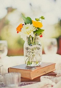 Wrapping lace around mis-matched jars is an affordable and elegant way to make the perfect vintage centerpiece