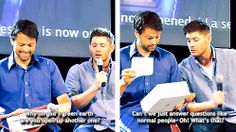 [gifset] From irritated to a giant kid in  seconds <3  #JibCon14 #Jensen #Misha