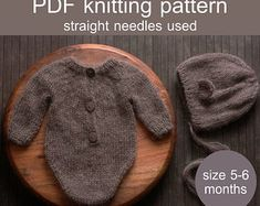 PDF Knitting Pattern Ember Baby Romper Dress and Bonnet | Etsy Knitting Projects, Knitting Patterns, I Cord, Dk Weight Yarn, Stockinette, Newborn Photo Props, Star Patterns, Needles Sizes, Buttonholes