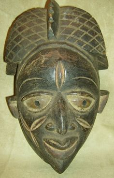 YORUBA Tribal Mask Nigeria Hand Carved Wood African Art Collectibles