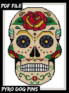 Sugar Skull/PDF - Day of the Dead Cross Stitch Sampler - INSTANT DOWNLOAD