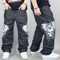 Cool-Mens-Jeans-Baggy-Fit-Raw-Black-Skull-Skeleton-Funk-Loose-Hip-Hop-Rap-Denim-Streetwear.jpg (750×750)