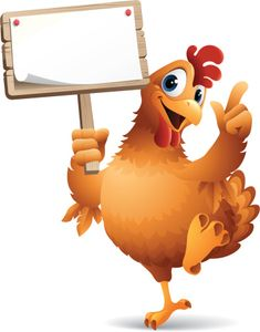 - cartoon illustration of chicken holding blank sign Chicken Logo, Cartoon Chicken, Chicken Pictures, Bird Pictures, All Animals Images, Boarders And Frames, Blank Sign, Baby Clip Art, Cartoon Logo