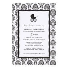 Vintage Damask Baby Carriage Baby Shower Custom Announcements