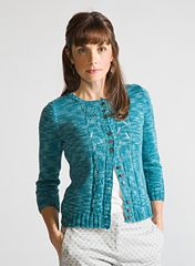 Worked mostly in stockinette stitch, it's the details that make this fitted sleeve cardigan special. Dainty lace panels adorn the center front and the cuffs of the 3/4 length sleeves.The waist is subtly shaped for a perfect fit. Buttons are grouped in sets of three to fasten the fronts.