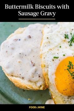 This biscuit and gravy recipe incorporates onions, pork sausage and fried eggs to create the ultimate comfort food meets breakfast recipe. Whether you're eating these buttermilk biscuits and sausage gravy with eggs, hash browns, home fries, or eating them on their own, it's a great choice for a brunch recipe.#breakfastrecipes #brunchrecipes #sausagegravy #gravyrecipes #biscuitsandgravy Biscuit N Gravy Recipe, Biscuits And Gravy, Buttermilk Biscuits, Sausage Gravy, Turkey Sausage, Best Brunch Recipes, Breakfast Recipes, Home Fries, Sausage Breakfast