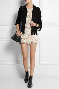 Платье-туника крючком от Saint Laurent.. Ирландское кружево. Crocheted cotton mini dress. #crochet_mini_dress #crochet_tunic #Irish_lace #Saint_Laurent