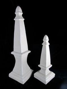 Two White Porcelain Column Statues  Decor