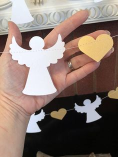 Here is a beautiful Angel and heart garland for your next special occasion! Perfect for a Heaven Sent Themed Baby Shower -Christening - Baptism-1st Holy Communion- Baby Dedication. Even lovely at a wedding or for Christmas! This beautiful6 or 10 foot paper garland is made with 3