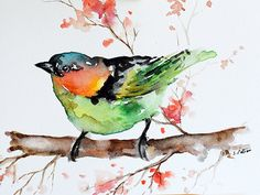 ORIGINAL Watercolor Bird Painting Bright Green Bird Colorful