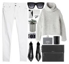 """243. Melting Snow"" by ass-sass-in ❤ liked on Polyvore featuring MANGO, Raquel Allegra, Modalu, Acne Studios, CÉLINE, Crate and Barrel, Marc by Marc Jacobs, Comme des Garçons and NARS Cosmetics"