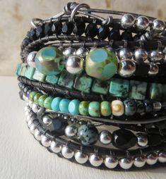 leather wrap bracelet , beaded bracelet, friendship cuff, multiple wrap with extra embellished knotted beaded wrap #design #leatherwrapbracecelet