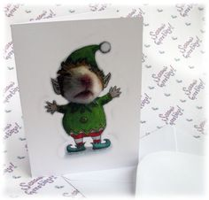 Elf Christmas Card Hamster Xmas Greetings Cards Funny Cute Fun Stationery Santa's Little Helper