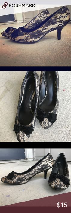 Fioni cream and black lace heels with bow Fioni size 7 cream and black lace heels with bow. Wore once or twice to church, perfect condition. FIONI Clothing Shoes Heels