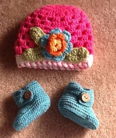 Ready To Ship Baby Beanie Hats & Matching Booties by BabyGirlsGlam, $22.99 www.babygirlsglam.etsy.com