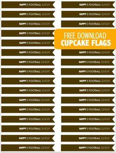 Free Printable Football Themed Cupcake Flags