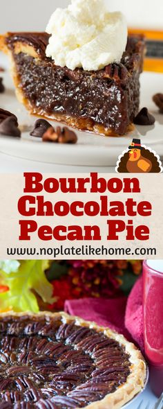 This easy-as-pie BOURBON Chocolate Pecan Pie is loaded with Gentleman Jack's Bourbon and chocolate! With only 15 min prep, it's the perfect pie to bring to Thanksgiving dinner. Pin for later.