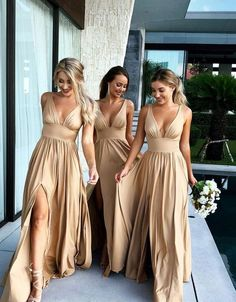 V Neck Gold Bridesmaid Dress with Slit Maxi