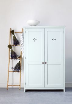 upright cupboard & decorative ladder by deVOL Kitchens.  This will be going into the utility room in Pantry Blue - so pretty.