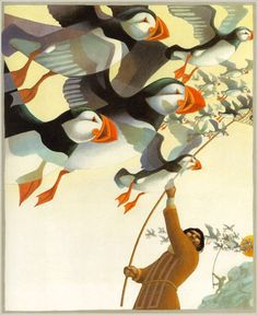 love the puffins - just went to the Farne Islands, Northumberland to see them nesting. Puffins Bird, Children's Book Illustration, Illustration Styles, Book Illustrations, Bird Art, Beautiful Birds, Beautiful Pictures, Childrens Books, Farne Islands