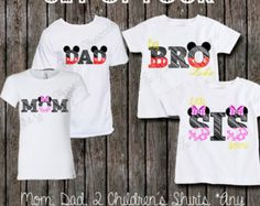 Family Disney Shirt Set - Set of 4 Family Disney Shirts - Minnie and Mickey Inspired - Perfect for a Family Vacation to Disney