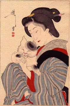 Yoshitoshi Taiso Woodblock print from a copy of Bijutsu Sekai edited by Seitei. Image size 120 mm x 183 mm. Geisha Kunst, Geisha Art, Japan Illustration, Botanical Illustration, Asian Cat, Japanese Woodcut, Hokusai, Traditional Japanese Art, Japanese Cat