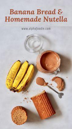 This delicious homemade Banana Bread and Chocolate Hazelnut Spread (Homemade Vegan Nutella) are the perfect treat and a great way to use up spotty bananas! Homemade Nutella Recipes, Homemade Banana Bread, Nutella Banana Bread, Healthy Crackers, Nutella Spread, Lunch Box Recipes, Breakfast Recipes, Delicious Chocolate, Healthy Chocolate