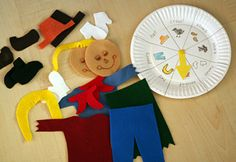 Build a scarecrow game.  Plate, spinner, colored felt pieces, etc.