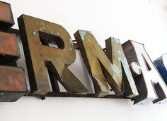 Old Metal Letters Faux Metal Letters  Zinc  Antique  Vintage  Industrial