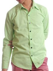 Wide Lapel Soft Lime Green Dress Shirt| $19