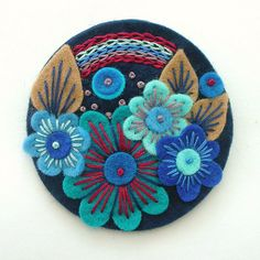 OVER THE RAINBOW FELT BROOCH WITH FREEFORM EMBROIDERY  by APPLIQUE-designedbyjane, via Flickr