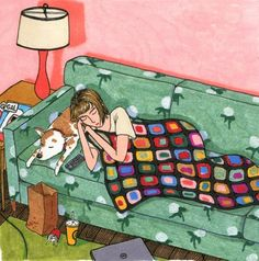 Ilustraciones Sally Nixon chica recostada en el sofá