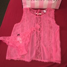 V.S beautiful lingerie NWT beautiful color is a 2 piece comes with panty both size medium. Will send gift box with it as well Victoria's Secret Intimates & Sleepwear