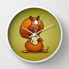 Squirrel Wall Clock by Cardvibes - $30.00 #Society6 #Cardvibes #Tekenaartje #acorn #autumn