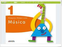"""""""Libro digital de 1º de Música de Primaria"""". Editorial Anaya. Tapas, Anaya, Letters, Logos, Audio, Editorial, Products, Music Classroom, Teaching Resources"""