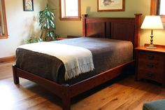 Bungalow Style Headboard with Footboard customized for a client of Montana Cabinet & Canoe Craftsman Bed Frames, Craftsman Style Furniture, Craftsman Interior, Mission Furniture, Living Room Furniture, Bungalows, Custom Furniture, Furniture Design, Craftsman Style