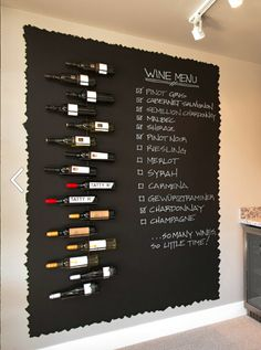 Let your kitchen storage double as wall decor with this inspiring DIY Chalkboard Wine Menu. If you love to host and entertain, you'll love the idea of adding this clever organization to your home. Wine Shop Interior, Pub Interior, Wine Bar Restaurant, Home Wine Cellars, Bar A Vin, Wine Cellar Design, Wine Storage, Kitchen Storage, Wine Tasting Room