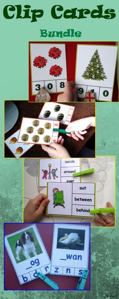 Clip Cards Bundle for Autism, Special Education, ABA, Speech Therapy, OT, ESL. These printables include activities for letters, phonics, numbers, colors and works great for early age, kindergarten and preschool students. #clipcards #sped #kindergarten For more resources follow https://www.pinterest.com/angelajuvic/autism-and-special-education-resources-angie-s-tpt/