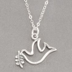 "PEACE DOVE Olive Branch Holy Spirit Charm Pendant STERLING SILVER 18"" Necklace"
