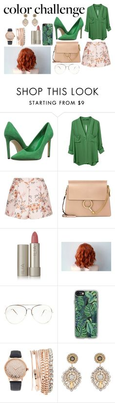 """""""Spring Style #42"""" by paola200 ❤ liked on Polyvore featuring Nine West, WithChic, STELLA McCARTNEY, Chloé, Ilia, Casetify, Jessica Carlyle, Miguel Ases, colorchallenge and greenandblush"""