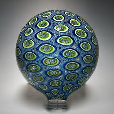 Aqua/Lime Sphere: David Patchen: Art Glass Sculpture - Artful Home